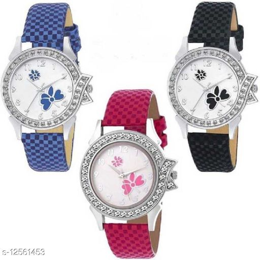 Miss Perfect Combo Pack 3 Graceful Print Dial Multi Chex Design Leather Belt Watch Analog Watch