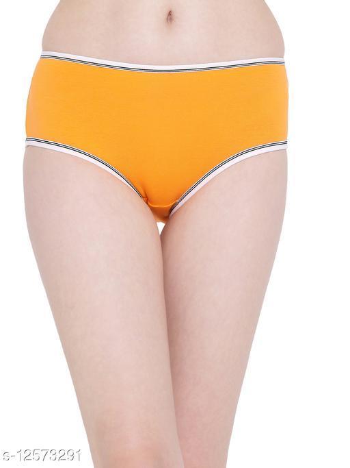Clovia Mid Waist Hipster Panty in Orange-  Cotton