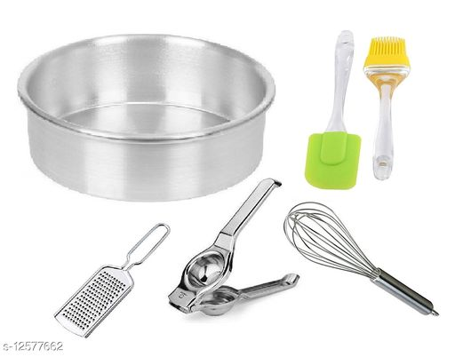 Combo 5 Pieces Set of Aluminium Round Shape Cake Mould with Stainless Steel Egg Whisk, Cheese Grater, Lemon Squeezer, Silicone Big Spatula & Oil Brush Set