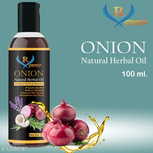 vr group red onion non sticky hair oil for stronger,thicker,& glossier hair oil