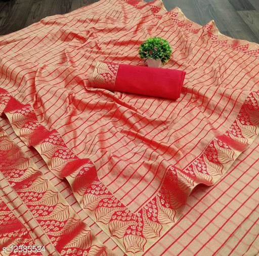 Kanooda Prints Fancy Women's Vichitra Silk Foil Printed Sarees.