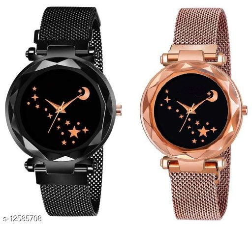 Green Scapper Multicolor Magnet Metal Strap Analog Watches For Girls & Women-7875