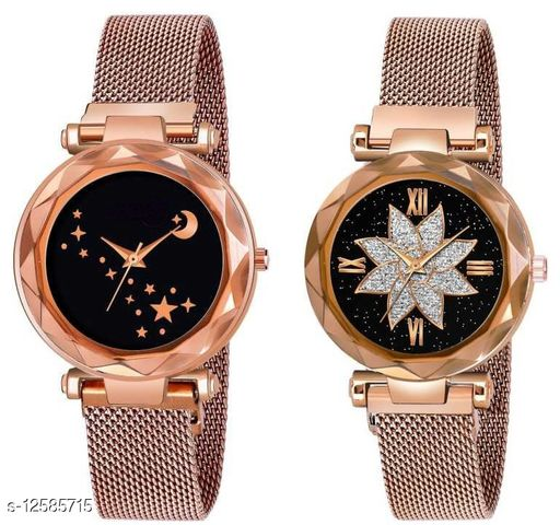 Green Scapper Multicolor Magnet Metal Strap Analog Watches For Girls & Women-7874