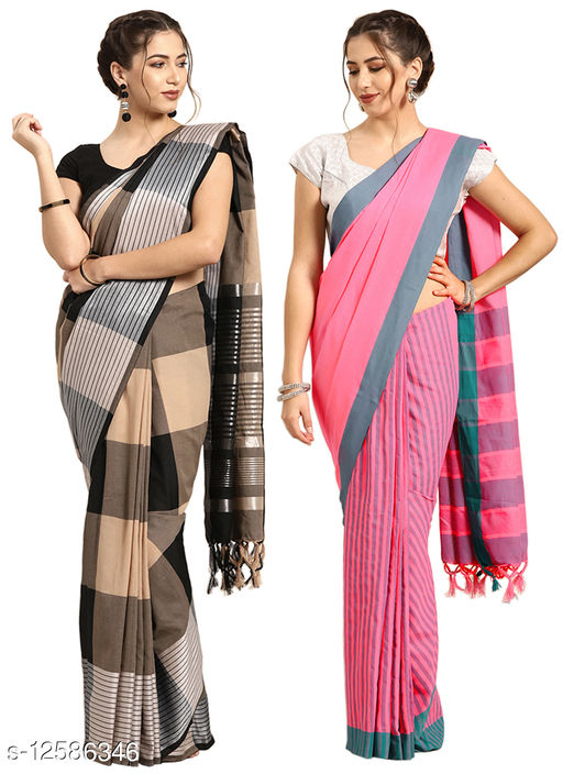 Vastragruh women's Cotton Silk Blend Checked Woven combo of 2 saree with blouse piece (Shringar-Pink_Threed-Black)
