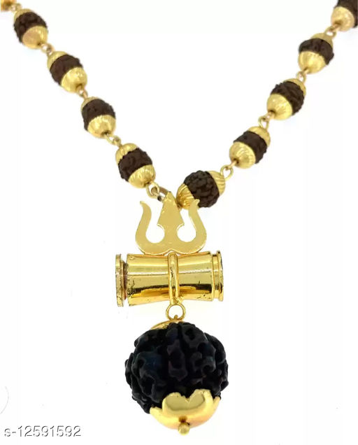 SS Rudraksha Studded Chain With Trishul Damru Bolenath Pendent Gold-plated Plated Stainless Steel Chain