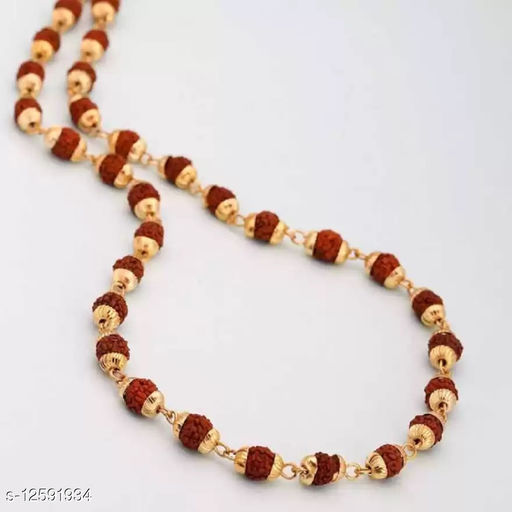 SS Origional Natural 8 mm Rudraksha Japa Mala with gold plated beads Wood Chain