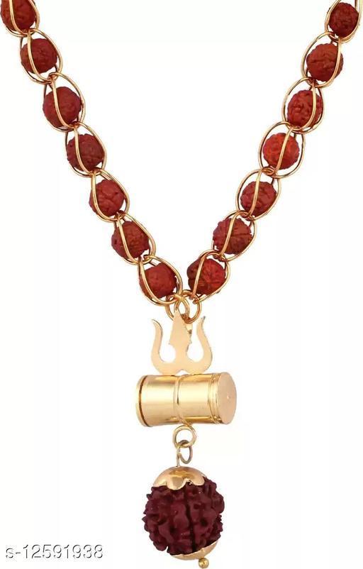 SS Rudraksha Golden Trishul Damru Locket Pendant with 5 mukhi Gold-plated jaali rudraksh Chain Beads Gold-plated Metal Chain