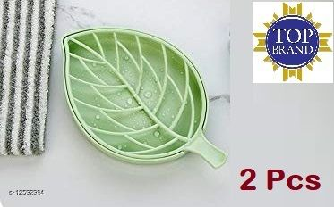 Leaf Shape Designer Soap Tray | Drip Soap Box with Water Draining Tray (2 Pcs Green)