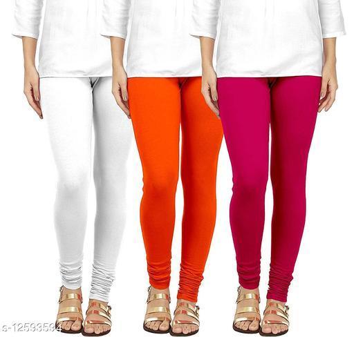 Durva Fashion Women's Cotton Leggings Combo Set of 3 | Legging for Women | Legging Combo Set | Cotton Leggings | Churidar Leggings (White-Orange-Pink)