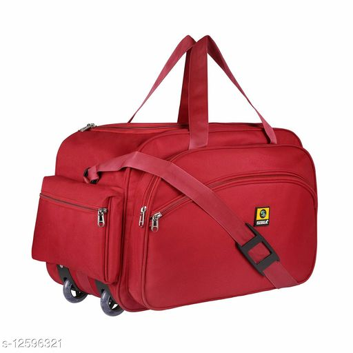 SIBIA Latest Nylon 55 litres Strolley Duffel Bag nevi Blue Waterproof Travel Duffle Bag with Roller Wheels and pouch by side(Red)