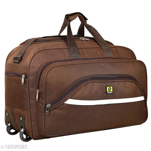 SIBIA Latest Nylon 55 litres Strolley Duffel Bag nevi Blue Waterproof Travel Duffle Bag with Roller Wheels (Brown)