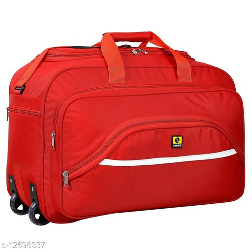 SIBIA Latest Nylon 55 litres Strolley Duffel Bag nevi Blue Waterproof Travel Duffle Bag with Roller Wheels (Red)