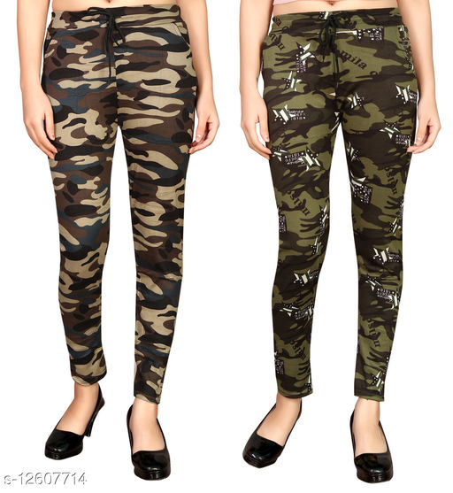 MH product Poly Cotton Army Style Track Leggings, Army Track Pants,(Multicolour) Size(28 to 34)Hip Size (pack of 2)