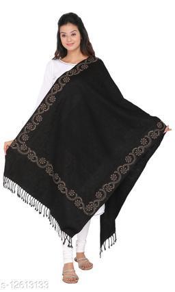 Kti Viscose Embroidered Women Shawl (Black)