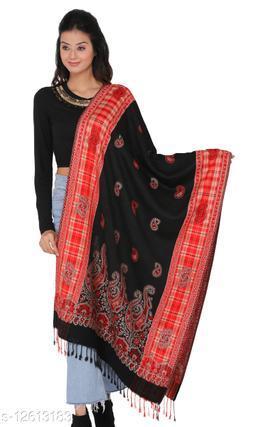 Kti Viscose Embroidered Women Shawl (Black, Red)