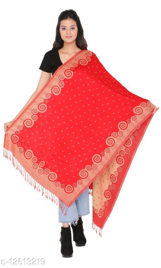 Kti Viscose Embroidered Women Shawl (Red, Beige)