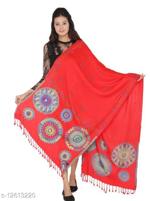 Kti Viscose Embroidered Women Shawl (Red)