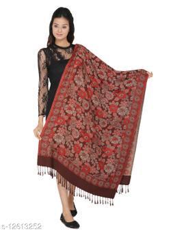 Kti Viscose Embroidered Women Shawl (Brown)
