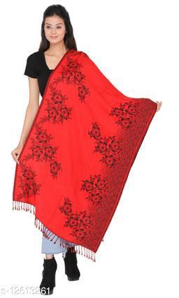 Kti Viscose Embroidered Women Shawl (Red, Black)