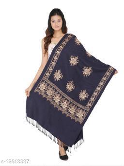 Kti Viscose Embroidered Women Shawl (Blue)