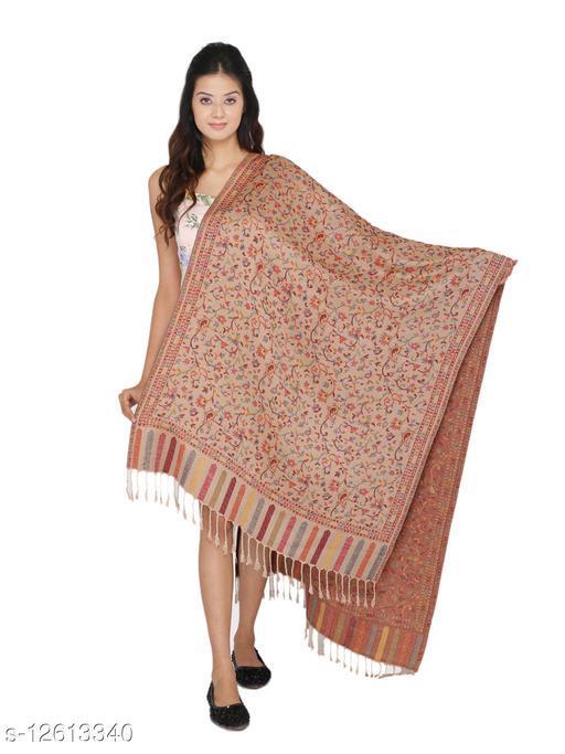 Kti Viscose Embroidered Women Shawl (Beige)