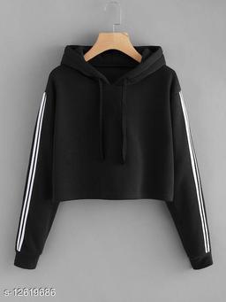 Fabrange Black Striped Crop Sweatshirt