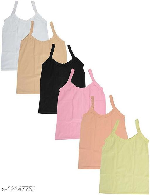 Women Pack of 6 Black Cotton Blend Camisoles