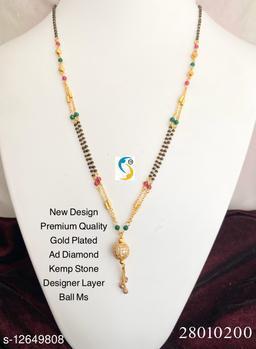 WOMEN'S GOLD PLATED AD DIAMOND BALL MANGALSUTRA