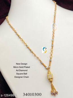 WOMEN'S GOLD PLATED AD DIAMOND SQUARE MANGALSUTRA