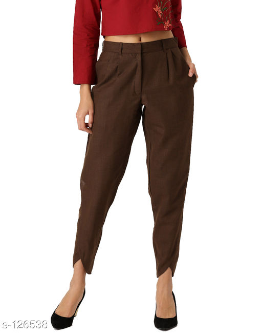 Trousers & Pants Stylish Tussar Silk Trouser  *Fabric* Trouser - Tussar Silk   *Size* S - Waist - 30 in, Inseam Length - 28 in, Outseam Length - 39 in, Pant Length - 39 in  M - Waist - 32 in, Inseam Length - 28 in, Outseam Length - 39 in, Pant Length - 39 in  L - Waist - 34 in, Inseam Length - 28 in, Outseam Length - 39 in, Pant Length - 39 in  XL - Waist - 36 in, Inseam Length - 28 in, Outseam Length - 39 in, Pant Length - 39 in  XXL - Waist - 38 in, Inseam Length - 28 in, Outseam Length - 39 in, Pant Length - 39 in   *Type* Stitched   *Description* It Has 1 Piece Of Trouser (Stretchable Waistband)   *Pattern* Solid  *Sizes Available* 30, 34, 36 *    Catalog Name: Women's Casual Bottomwear Vol 2 CatalogID_12451 C79-SC1034 Code: 275-126538-