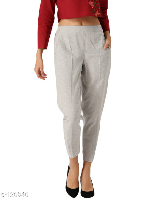 Trousers & Pants Stylish Handloom Trouser  *Fabric* Trouser - Handloom   *Size*  XS - Waist - 28 in, Inseam Length - 26 in, Outseam Length - 39 in, Pant Length - 39 in  S - Waist - 30 in, Inseam Length - 28 in, Outseam Length - 39 in, Pant Length - 39 in  M - Waist - 32 in, Inseam Length - 28 in, Outseam Length - 39 in, Pant Length - 39 in  L - Waist - 34 in, Inseam Length - 28 in, Outseam Length - 39 in, Pant Length - 39 in  XL - Waist - 36 in, Inseam Length - 28 in, Outseam Length - 39 in, Pant Length - 39 in  XXL - Waist - 38 in, Inseam Length - 28 in, Outseam Length - 39 in, Pant Length - 39 in   *Type* Stitched   *Description* It Has 1 Piece Of Trouser (Stretchable Waistband)   *Pattern* Solid  *Sizes Available* 26, 28, 30, 32, 34, 36 *    Catalog Name: Women's Casual Bottomwear Vol 2 CatalogID_12451 C79-SC1034 Code: 474-126540-