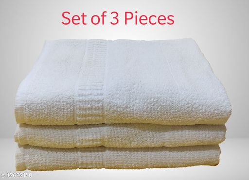 Nayra 100% Cotton White  Towel - Size 30 x 60 Inch (Set of 3 Pieces)