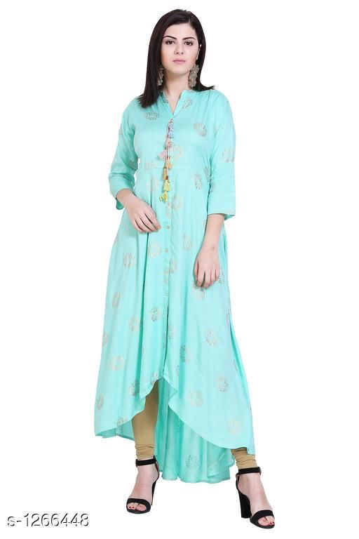 Kurtis & Kurtas Casual Rayon Printed Kurti  *Fabric* Rayon  *Sleeves* Sleeves Are Included  *Size* S - 36 in, M - 38 in , L - 40 in ,XL - 42 in, XXL - 44 in, XXL - 46 in ,XXXL - 48  *Type* Stitched  *Length* Up To 48 in  *Description* It Has 1 Piece Of  Kurti  *Work* Printed  *Sizes Available* S, M, L, XL, XXL   Catalog Rating: ★4.4 (16) Supplier Rating: ★4.2 (601) SKU: VM00041 Shipping charges: Rs1 (Non-refundable) Pkt. Weight Range: 200  Catalog Name: Eva Casual Rayon Printed Kurtis Vol 1 - alisha_fashion Code: 096-1266448--218