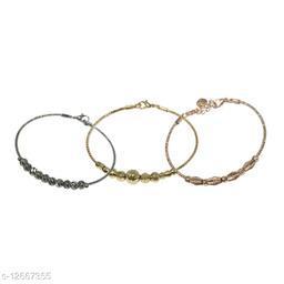 Latest design Beautiful combos of 3 Black/ Rosegold and golden adjustable bracelet for girls and women