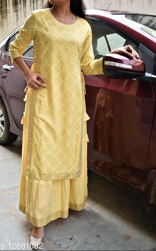 Women Rayon Layered Printed Yellow Kurti