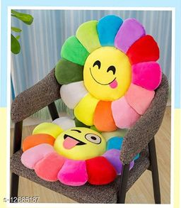 MBHOME Attractive Soft & Durable Good Quality Velvet Sunflower Smiley Soft Cushions for Home Sofa and Bed (Pack of-2) (Yelllow Color)