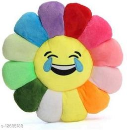 MBHOME Attractive Soft & Durable Good Quality Velvet Sunflower Smiley Soft Cushions for Home Sofa and Bed (Pack of-1) (Yelllow Color)