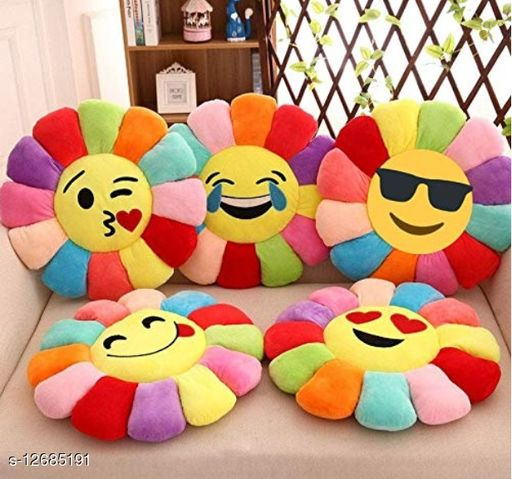 MBHOME Attractive Soft & Durable Good Quality Velvet Sunflower Smiley Soft Cushions for Home Sofa and Bed (Pack of-5) (Yelllow Color)