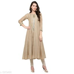 Women's Chanderi Silk Brown Flared Solid Solid Kurti