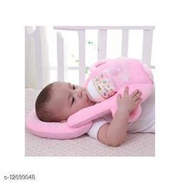 Trendy Stylish New Born Baby 1 Piece Neck Pillow & 1 Piece Self Feeder ( 2 Piece Set, Pink)