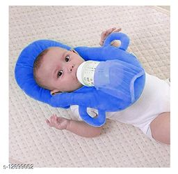 Trendy Stylish New Born Baby 1 Piece Neck Pillow & 1 Piece Self Feeder ( 2 Piece Set, Blue)