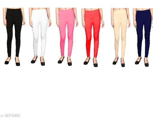 MH product Polycotton Jegging with Side Stone Free Size-(26 inch to 32 inch Waist) (pack of 5)