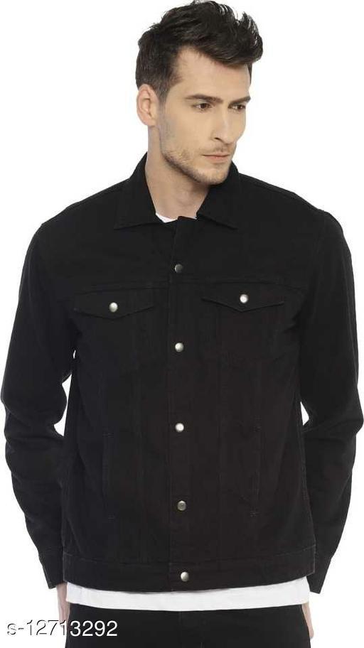 Mens Full Sleeves Black Denim Jacket