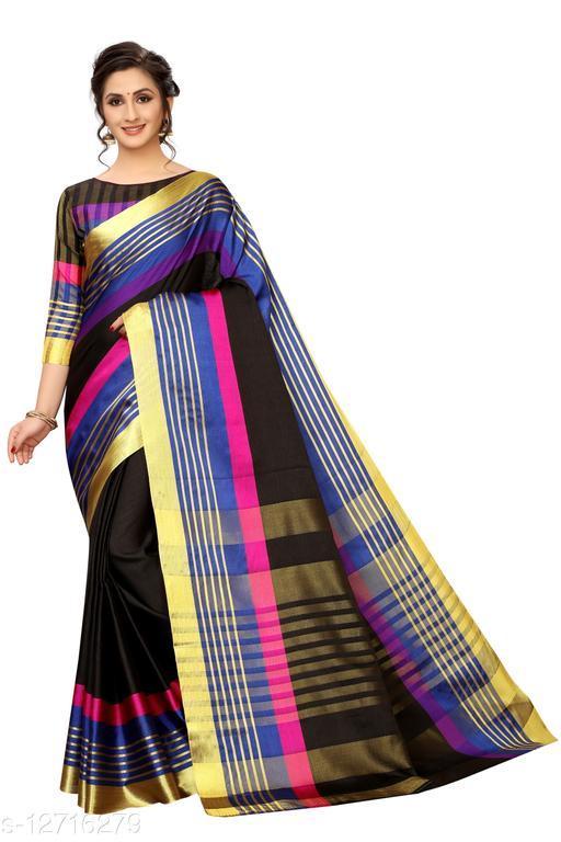 Unique Poly Cotton Saree With Striped & Golden Zari Line Work