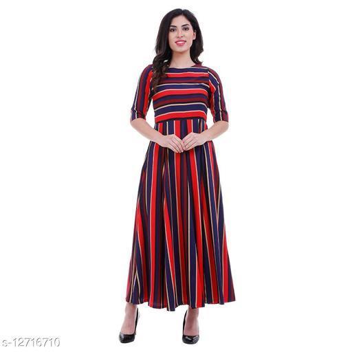 Women Crepe Flared Stripe Kurti