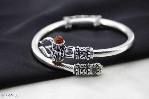 Classy Men's Silver Trisul Rudraksha Bracelet