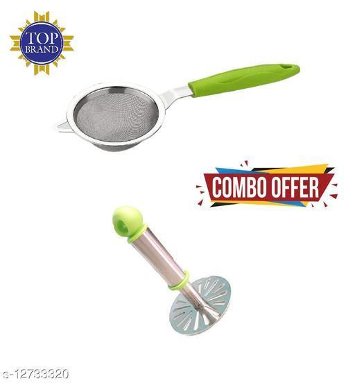 Stainless Steel Potato Vegetables Pav Bhaji Masher + Tea Strainer for Kitchen in Multicolor 2 Combo Set
