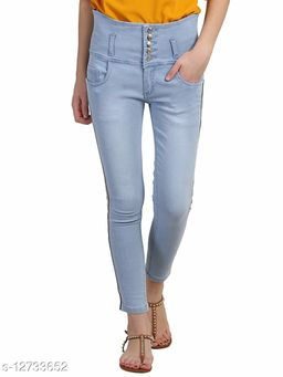 KS COLLECTION women's Side Stripes High Waist Ankle Length Denim Jeans (Sky Blue)