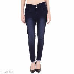 KS COLLECTION women's High Waist Ankle Length Denim Jeans (Blue)