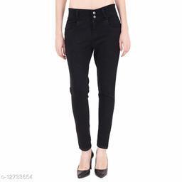 KS COLLECTION women's High Waist Ankle Length Denim Jeans (Black)